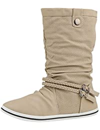 napoli-fashion Sportliche Damen Stiefeletten Stiefel Flache Boots High Low Top Jennika