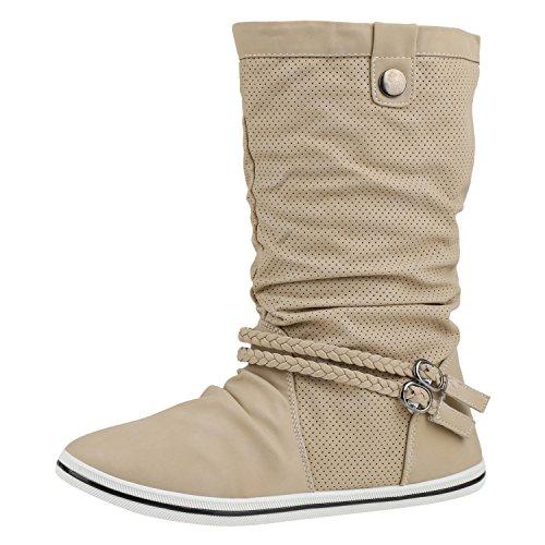Sportliche Damen Stiefeletten Stiefel Flache Boots High & Low Top Damen STIEFELETTEN BEIGE 40