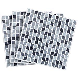 infactory Wanddeko: Selbstklebende 3D-Mosaik-Fliesenaufkleber Dezent 26 x 26 cm, 3er-Set (Selbstklebende Mosaik Folie)