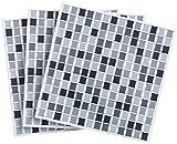 infactory Deko Fliesenaufkleber: Selbstklebende 3D-Mosaik-Fliesenaufkleber Dezent 26 x 26 cm, 3er-Set (Selbstklebende Mosaik Folie)