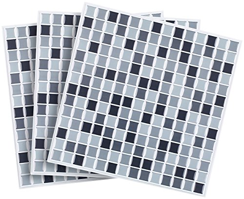 infactory Deko Fliesenaufkleber: Selbstklebende 3D-Mosaik-Fliesenaufkleber Dezent 26 x 26 cm, 3er-Set (Selbstklebende Mosaik Folie) (Pearl Bad-mosaik)