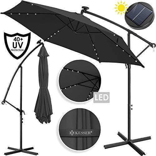 KESSER® Alu Ampelschirm LED Solar ✔ Ø300cm ✔+ Abdeckung ✔ mit Kurbelvorrichtung ✔ UV-Schutz ✔ Aluminium ✔ mit An-/Ausschalter ✔ Wasserabweisend - Sonnenschirm Schirm Gartenschirm Marktschirm Anthrazit