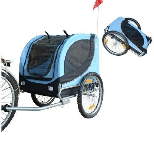 PawHut Carrellino Rimorchio per Cani Animali Domestici da Bicicletta Azzurro e Nero 130 x 90 x 110cm