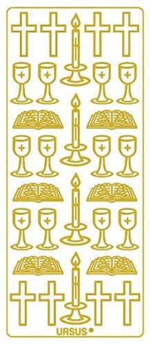 Ursus 59300097 - Kreativ Sticker, Christliche Symbole, 5 Blatt, gold