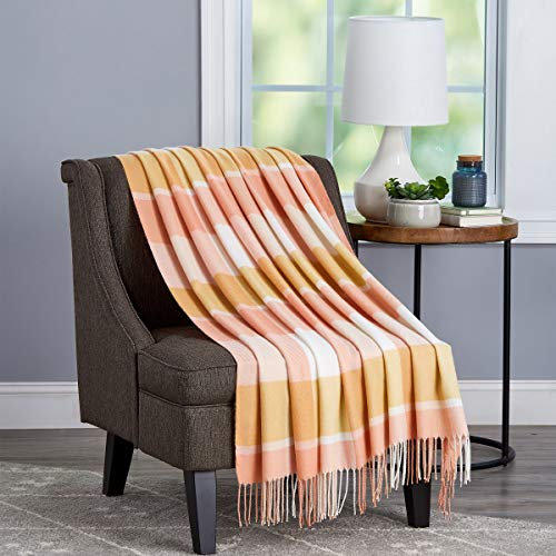 Bedford Home Oversized Vintage Look Woven Acrylic Faux Cashmere-Feel Plaid Throw - Breathable and Machine Washable (Desert Blush Faux Cashmere