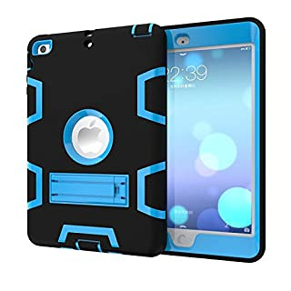 iPad Mini 3 2 1 Hülle,Allbuymall Drei-Schichten-Schutz Outdoor Außenbenutzung 3in1 Stoßfest Schutzhülle Case Cover für Apple iPad Mini 3 / 2 und 1 Generation 7.9 Zoll-(Schwarz+Blau)