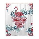 Tenda da doccia 152,4x 182,9cm, classico rosa floreale fenicotteri, a prova di muffa poliestere...