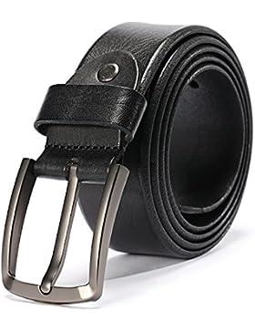 HZHY Cinturón Para Hombres, 100% Cuero Genuino de Grano Completo,Traje Para Jeans & Ropa Casual & Ropa de Trabajo...