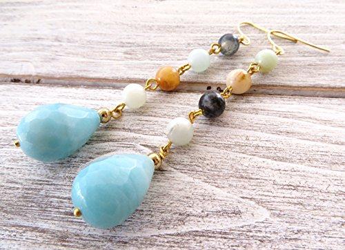 Orecchini lunghi con amazzonite azzurra, orecchini a goccia, pendenti con pietre dure naturali, gioielli turchesi, bijoux artigianali, regalo per lei