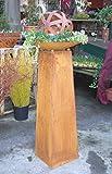 Set - Säule oder Schalenständer ca. 100 cm mit Schale und Kugel, aus Metall Edelrost Rost Eisen Deko Garten