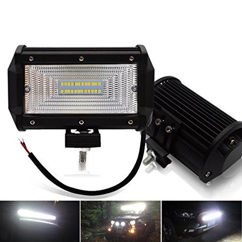 Preisvergleich Produktbild Safego 2x 5 Inch 72W LED Scheinwerfer Arbeitslicht Auto Arbeitsscheinwerfer bar Offroad Off-road ATV SUV 12V 24V Flutlicht Schwarz Aluminium Druckguss 6000K