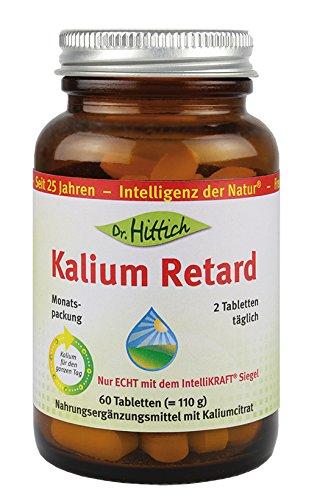Kalium Retard - Das Nahrungsergänzungsmittel Kalium Retard versorgt Sie mit nur zwei Tabletten pro Tag rund um die Uhr mit 900 mg Kalium - Von Dr. Hittich (Monatspackung)