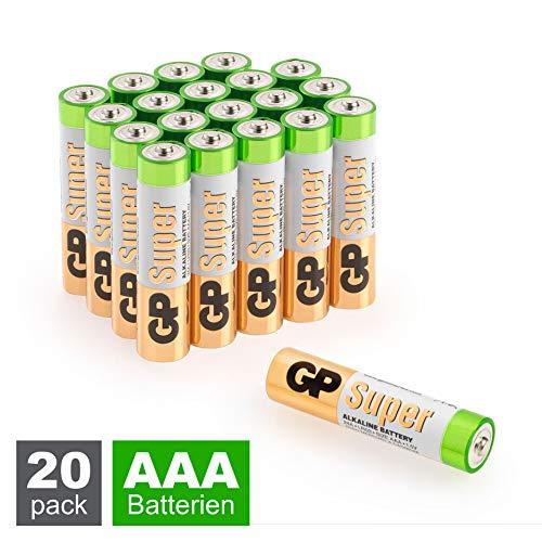 """GP Batterien AAA Micro Super Alkaline Vorratspack 20 Stück in """"briefkasten-tauglicher"""" Verpackung"""