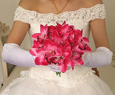 XYLUCKY Bouquet de mariée de simulation de Cymbidium tenant fleurs salon table et maison vase arrangement de la fleur (pack de 2) , rose red