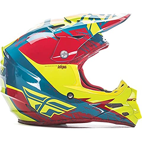 73-4223M - Fly Racing 2017 F2 Carbon MIPs Retrospec Motocross Helmet M Red Hi-Viz