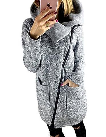 LANOMI Womens Casual Jacket Coat unique Long Zipper Autumn Winter Sweatshirt Outwear with Pockets 8 10 12 14 16 18 20 22 24 26 28 (Size 4XL/ UK 26, Gray Coats)