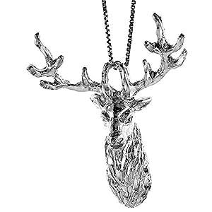 Revoni Promenade - Pendentif homme - Argent fin 925/1000 - Grande tête de cerf