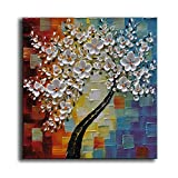 WOXTY ART 100% Pintado a Mano con Pintura al óleo Cuchillo de Flor Árbol de Flor Blanca Abstracto Moderno Cuadro de la Pared Listo para Colgar, 16' x 16'