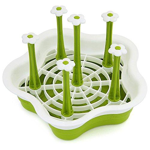 lume Typ Abtropfgestell für die Küchenspüle – zum Trocknen von Gläsern, Besteck, und Tellern, mit Besteckhalter – platzsparende Geschirrablage - Farbe: Grün (Halloween Stand Ins)
