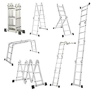 LARS360 6 en 1 Escalera de Tijera 4.7M Escalera Multifunción Plegable Escalera Articulada con Plataforma 4×4 Escalera de aluminio Escalera combinada de alta calidad, Cargable hasta 150 kg