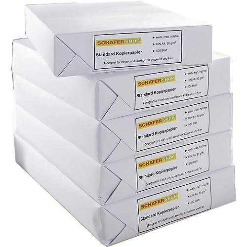 SCHÄFER SHOP Standard Kopierpapier Druckerpapier Papier, DIN A4, 80 g/m², 2500 Blatt, Weiß