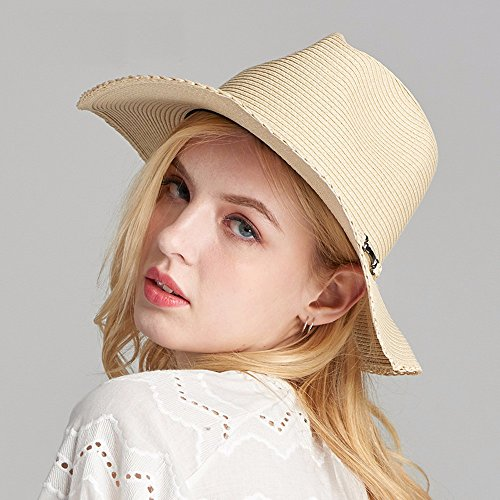GXFC Chapeau de soleil à la mode Lady summer,chapeau de soleil en paille,chapeau de plage pliable,chapeau de paille,circonférence de la tête ajustée(56-59)cm Black