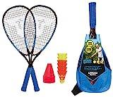 Talbot Torro Speed 6600, Set da Badminton, 2 Racchette in Alluminio da 58.5 cm, 6 Volani Veloci e Resistenti al Vento, Incluse 8 Picchetti Unisex, Multicolore, Taglia Unica