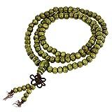 SODIAL(R) 2 Stueck 6mm Gebetskette Buddhistischer Rosenkranz Sandelholz Halskette Olivgruen