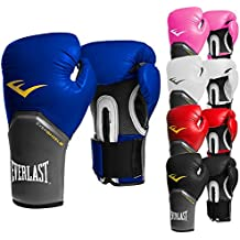 Everlast–Guantes de boxeo elite pro Style Negro Rojo Azul Blanco Rosa 810121416oz, color negro, tamaño 340 g