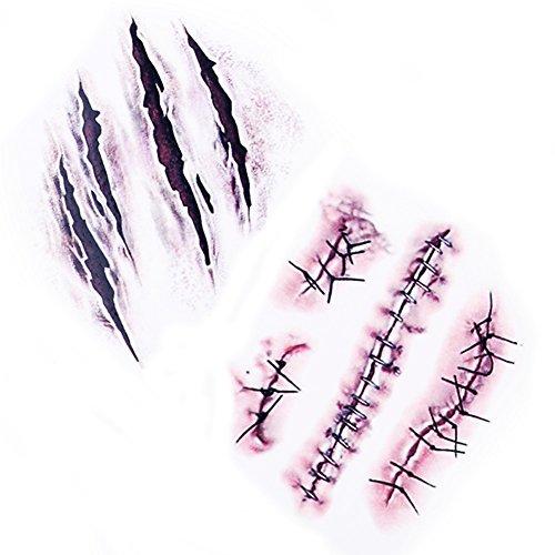 Tatuajes-Temporales-10-hojas-Halloween-Zombie-Cicatrices-Tatuajes-Pegatinas-con-Falso-Scab-Sangre-Especial-Fx-Costume-Maquillaje-Props