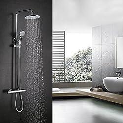 BONADE Duschsystem mit thermostat Regendusche inkl. Duschkopf verstellbar Duschstange 75-125cm