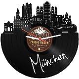 GRAVURZEILE Wanduhr aus einer echten Schallplatte - Wähle eine Stadt - 30cm Groß lautloses Uhrwerk - Schallplattenuhr, ideale Geschenkidee Skyline München