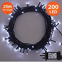 Christmas Lights 200 LED 20m Bright White Indoor/Outdoor Fairy Lights String Tree Lights Festival/Bedroom/Party Decorations Memory Mains Powered 65ft Lit Length 3m/9ft Lead Wire Green Cable