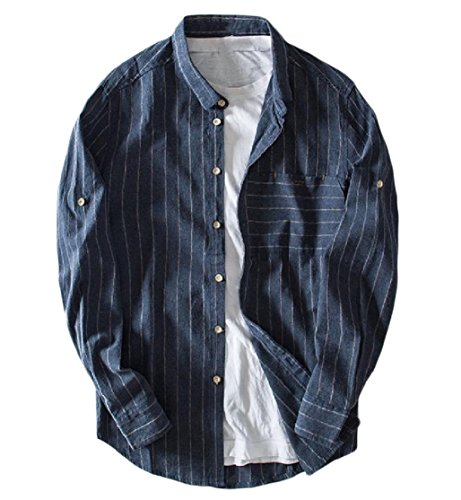CuteRose Men's Classic Striped Linen Buttoned Turn-Down Collar Western Shirt Navy Blue XL