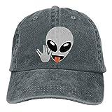 Fashion Home Adults Cute Alien Head Peace Hand Adjustable Casual Cool Baseball Cap Retro Cowboy Hat Cotton Dyed Caps Unisex Asphalt