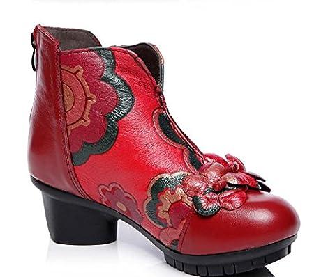 Automne Nouveau Manuel Original Folk-sur-mesure En Cuir Des Femmes Bottes En Peau De Vache Mid Heel Bottines Bottes Rétro ( Color : Red , Size : 38 )