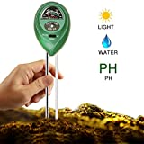 KFZR 3 in 1 Soil Tester Moisture Meter, Light and PH acidity Tester, Plant Tester for Garden, Farm, Lawn, Indoor & Outdoor (No Battery needed) Easy Read Indicator (Green)