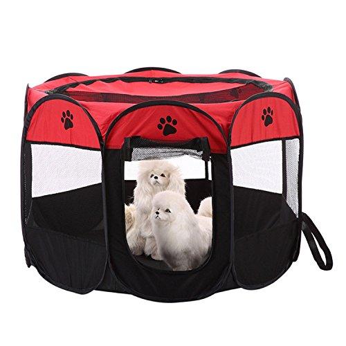 Gorgebuy Rot Welpenlaufstall/Tierlaufstall/Hundehütte/Welpenauslauf/Laufstall für Hunde/Welpenlaufstall/Katzenhaus/Wasserdichtes Zelt