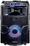 Lenco PMX-250 Mobile PA-Anlage mit Akku, DJ-Mixer und Licht-Effekten (Bluetooth, USB, UKW-Radio, Gitarren-Anschluss, Mikrofon) schwarz