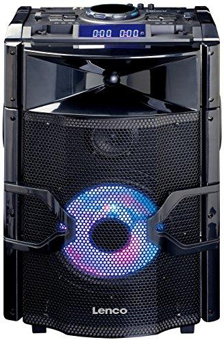 Lenco PMX-250 Mobile PA-Anlage mit Akku, DJ-Mixer und Licht-Effekten (Bluetooth, USB, UKW-Radio, Gitarren-Anschluss, Mikrofon) schwarz (Mixer 250)