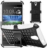 G-Shield Cover per HTC Desire 620, Custodia Protettiva Anti-Urto con Supporto, Bianco