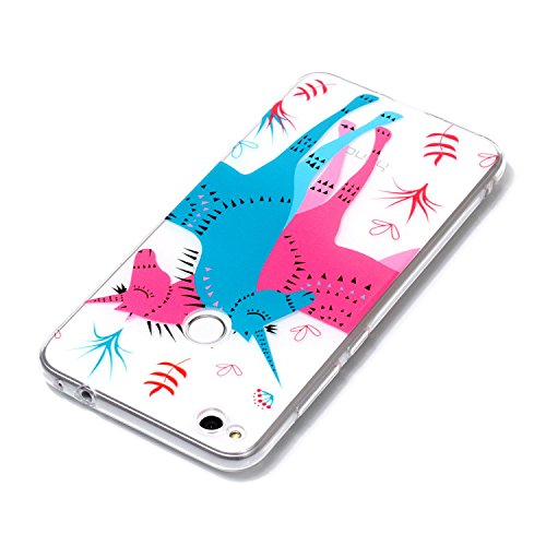 Coque Huawei P8 Lite 2017, Coque Huawei P8 Lite 2017 Case Silicone, Cozy Hut Coque Huawei P8 Lite 2017 Housse Transparent Etui en Silicone Soft Clear TPU Case Cover Housse Souple de Protection Coque M Couples unicorn