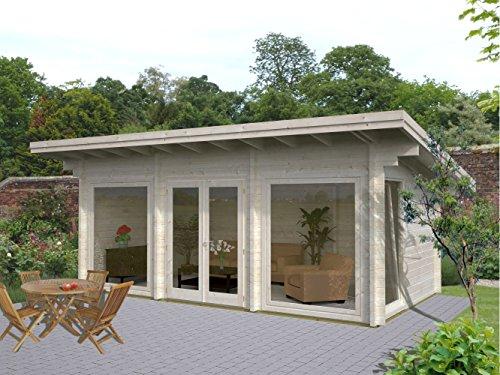 Wochenendhaus Prunus P4 inkl. Fußboden, naturbelassen - 70 mm Blockbohlenhaus, Grundfläche: 19,70 m², Pultdach