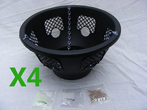 4x 12cm negro Plantopia fácil llenado cesta colgante con 4nueva cadena galvanizado...