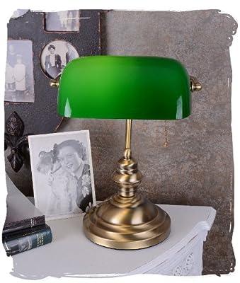 Bankerslamp/Schreibtischlampe/Banker-Lampe/Banker-Leuchte/Pultleuchte, echter Klassiker im Jugendstil mit grünem Glas