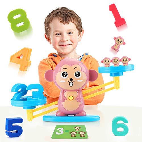 Fansteck Balanza Juguete niños, Juego Montessori de Números Aprendizaje Preescolar, Apredizaje Matemáticas, Aprender a Contar y Sumar numeros, Jueguete Educativo Temprano. Divertida forma de monos.