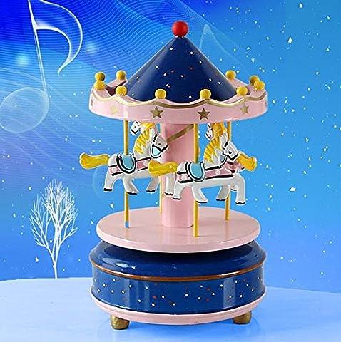 Lugii Cube en bois 4Cheval rotatif Carrousel figurine Boîte à musique anniversaire de Noël enfants de cadeaux jouet 1#, bleu