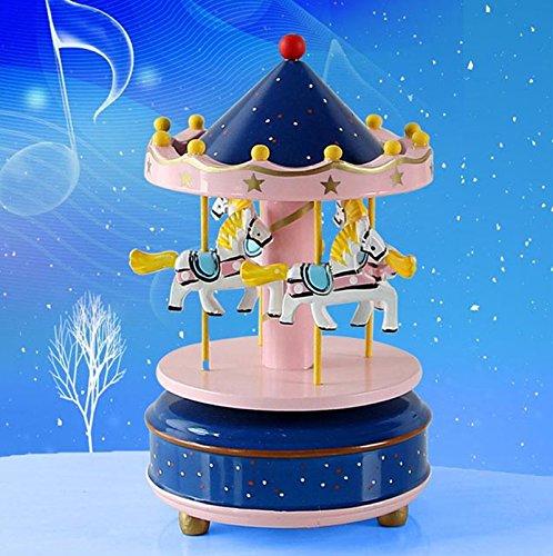 Lanlan Holz 4Pferd Drehkarussell Figur Musik Box Kinder Geburtstag Weihnachten Geschenke Spielzeug 1#, blau