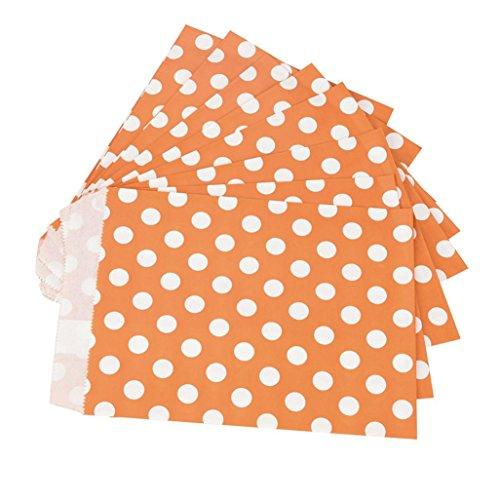 (25 Stücke Einweg-lebensmittel-taschen Lebensmittelechtes Papier Cookie Tasche Süßigkeiten Favor Treat Taschen Umwelt Papiertüte Partei Liefert By Upxiang (Punkte-Orange))