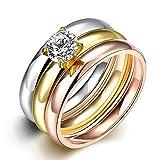 hlh Europäische Und Amerikanische Art Und Weise Glatter Kombinationsring Zirconedelstahlring Dreischichtring Dreifarbiger Diamantring,Tricolor-Ring,Nummer 8